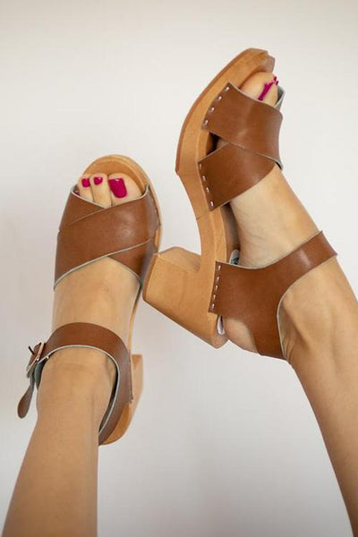 Buckle High Heel Clogs Sandals