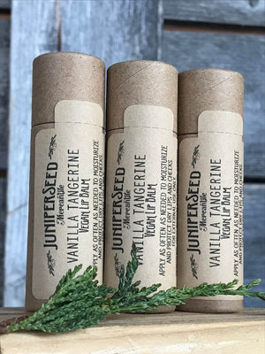 Vegan Vanilla Tangerine Lip Balm - XL compostable tube | Juniperseed Mercantile