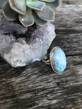 Large Larimar 925 Sterling Silver Ring