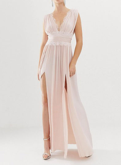 Premium Lace Insert Pleated Maxi Dress