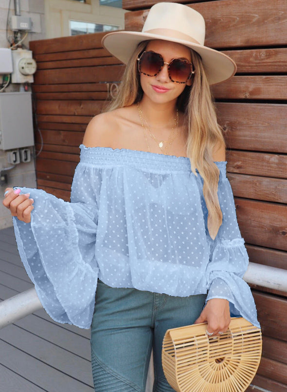 Swiss Dot Off The Shoulder Top