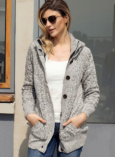 Long Sleeve Button-up Hooded Cardigans