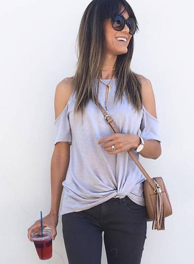 Cold Shoulder Twisted Casual Tee Shirt (LC252048-11-1)