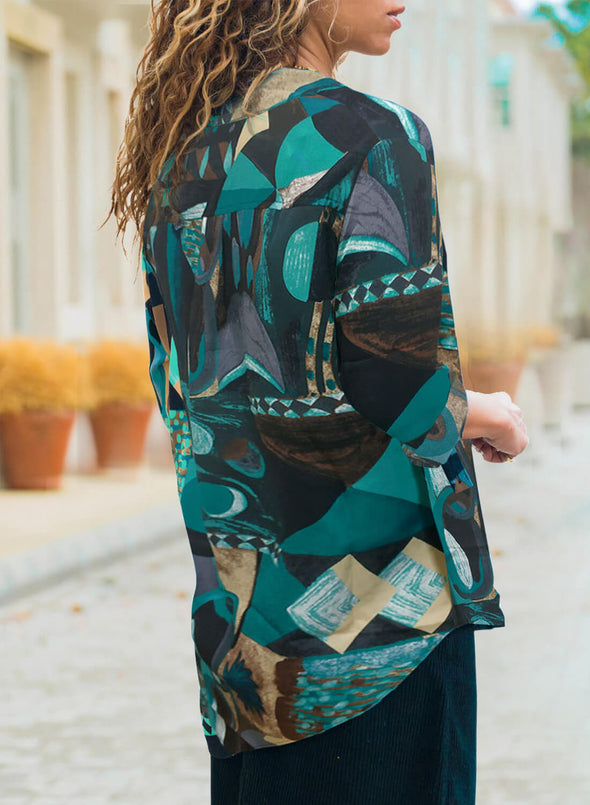 Abstract Color Block Pattern Shirt