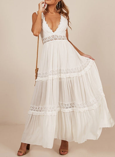V Neck Crochet Lace Maxi Dress