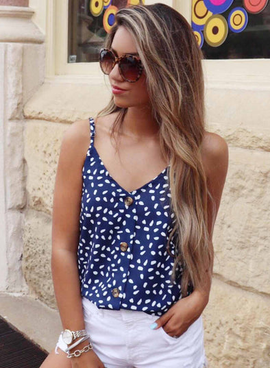 Wave Point V-Neck Button Down Tanks Top