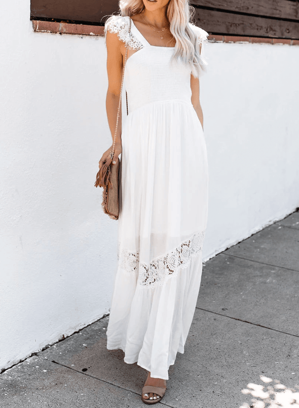 Square Neck Lace Hollow Maxi Dress