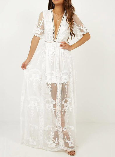 Elegant Lace Cover Maxi Dress