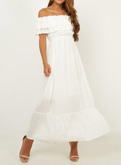 Off Shoulder Ruffle Lace Maxi Dress