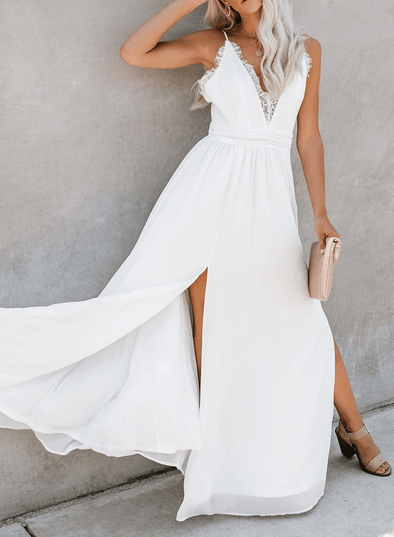 High Slits Lace Maxi Evening Dress