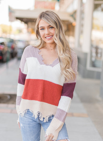 Mochaccino Striped Distressed Sweater(LC270030-3-1)