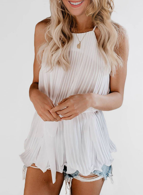 Spaghetti Strap Ruffled Belted Tank Top (LC252045-1-1)