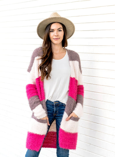 Color Block Drape Oversized Knitted Cardigan(LC270047-10-1)