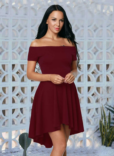 Off Shoulder Sleeve Flared Party Dress