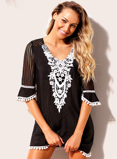 Trim Tassel Lace Swimwear Beach Cover up