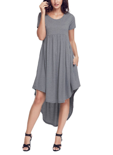 High Low Pleated Swing Dress