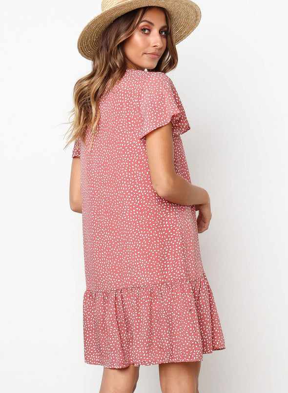 Polka Dot V Neck Button Down Ruffles T-Shirt Dress