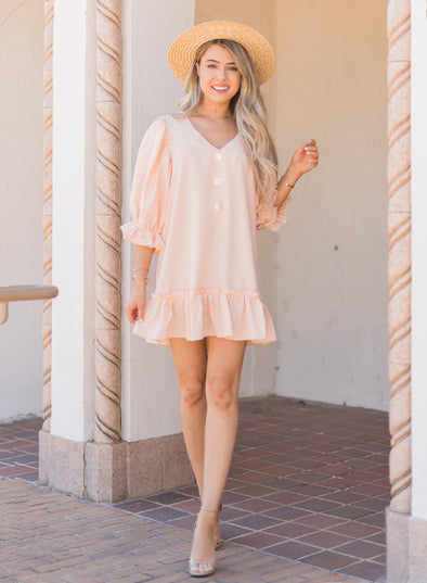 Casual Loose V Neck Short Swing Dress