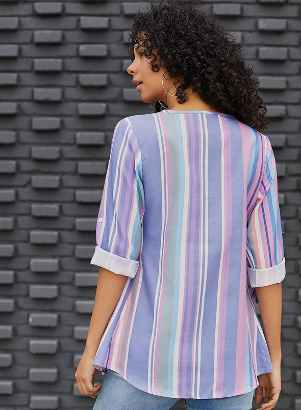 Pleated Stripe Button Front Tunic Tops