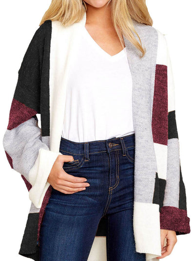 Color Block Open Front Cardigan
