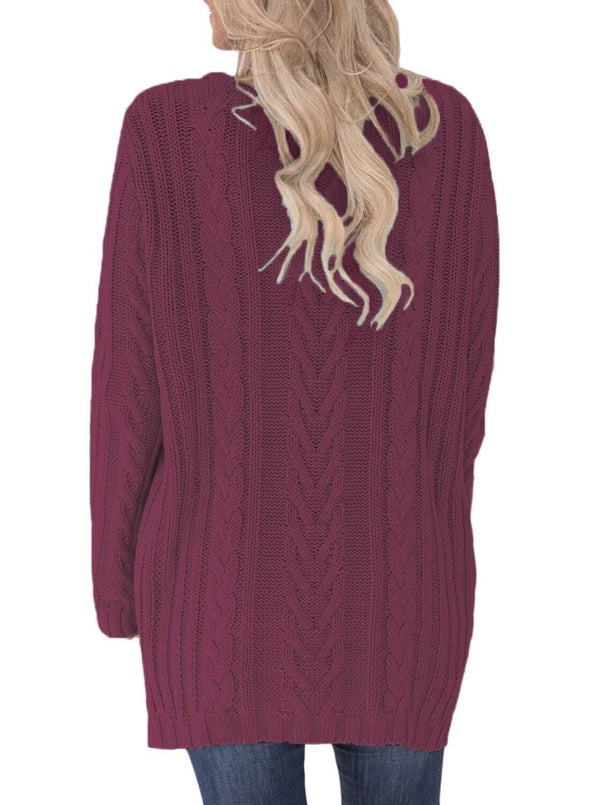 Button the Deep V Front Cable Sweater Cardigan