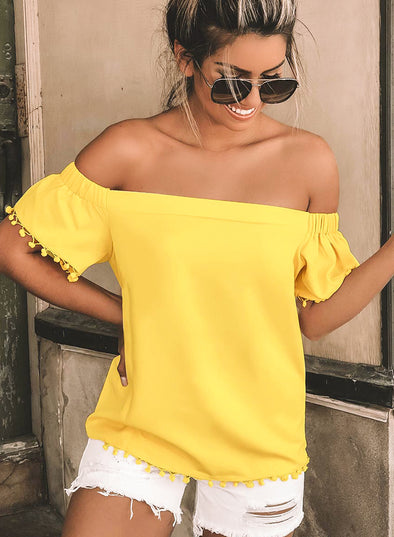 Off Shoulder Pom Blouse