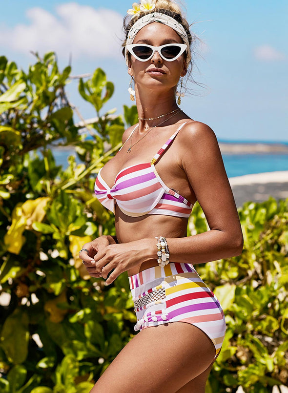 Candy Colors Striped High Waisted Bikini Set