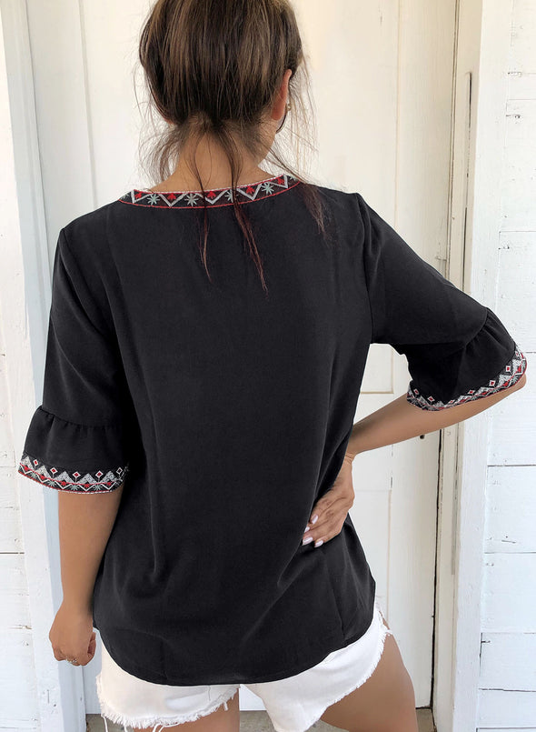 Boho Floral V Neck Casual Top