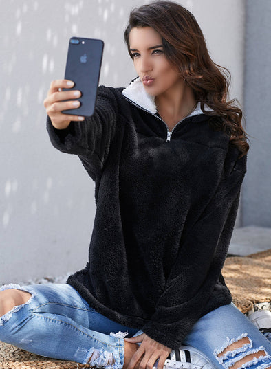 Zipper Fleece Pullover Coat