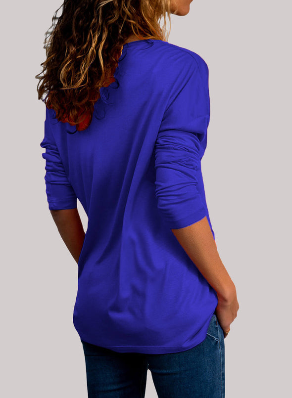 Wrap V Neck Ruched Long Sleeve Top