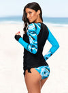 Long Sleeve Color Block Tankini Swimsuit