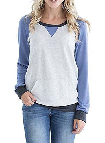 Crewneck Color Block Sweatshirt Pocket