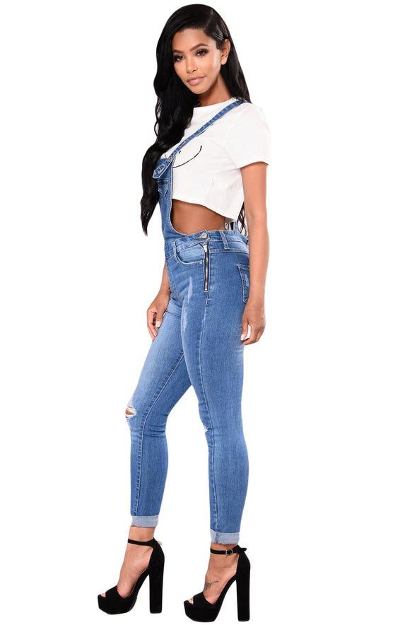Light Blue Denim Laidback Distressed Overalls