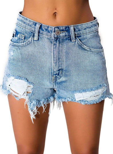 High Waisted Distressed Denim Shorts (LC786124-4-1)
