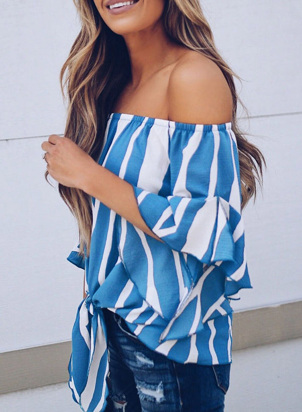 Striped Off Shoulder Bell Sleeve Tie Knot Shirt