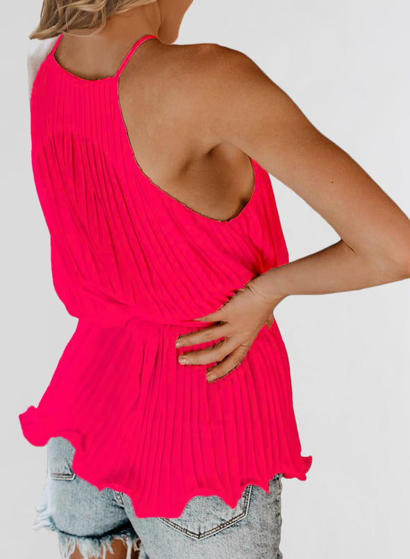 Spaghetti Strap Ruffled Belted Tank Top (LC252045-6-2)