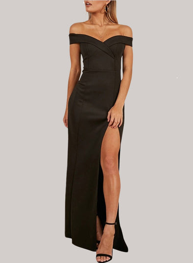 Off Shoulder Neck Side Slit Party Dress