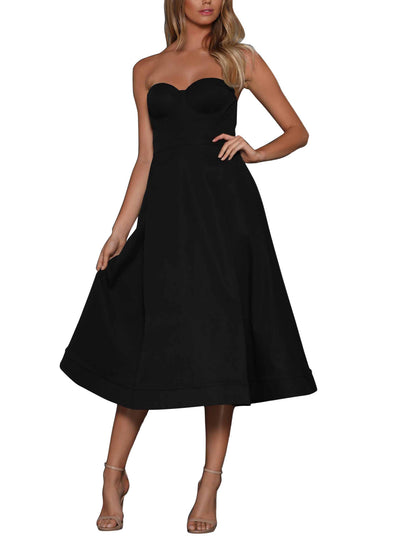 Cupped Strapless Midi Dress