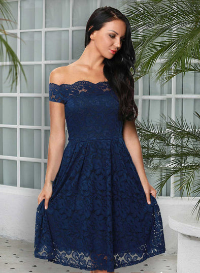 Scalloped Off Shoulder Flared Lace Dress