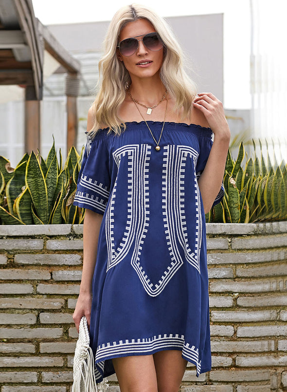 Vibe Geometric Print Off Shoulder Swimdress