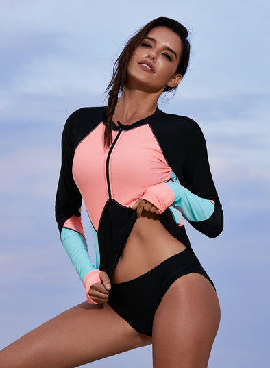 Color Block Rashguard Swim Top(LC410981-22-1)