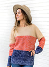 Color Block Netted Texture Pullover Sweater(LC270053-17-2)