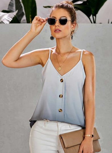 Gradient V-Neck Button Down Tank Tops