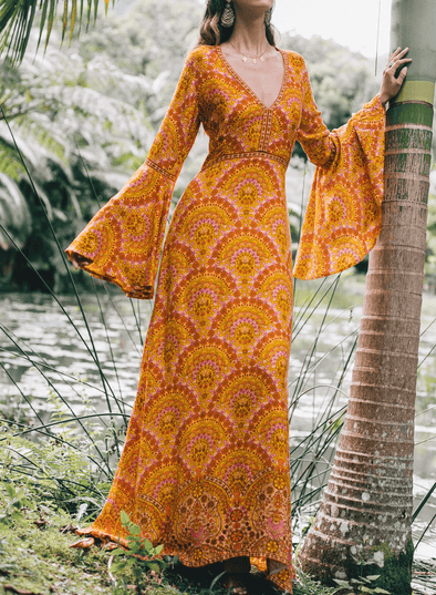 Bell Sleeve Floral Maxi Dress