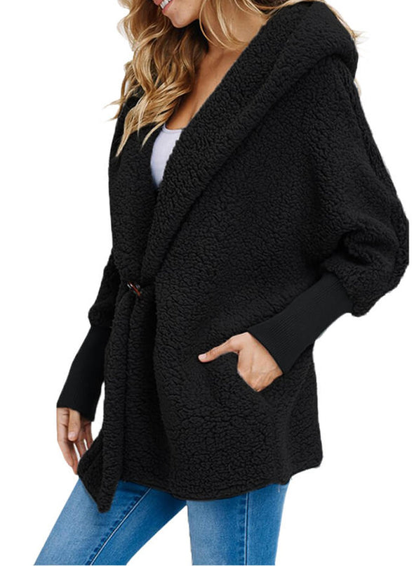 Woolen Fur Horn Button Oversize Jacket