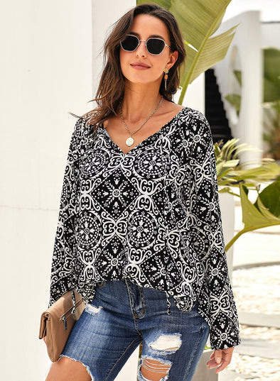 Long Sleeve V Neck Printed Chiffon Blouse