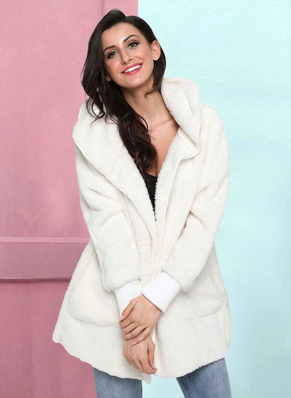 Open Front Fleece Cardigan Jacket