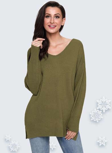 Oversized Long Sleeve Knitted V-Neck Sweater