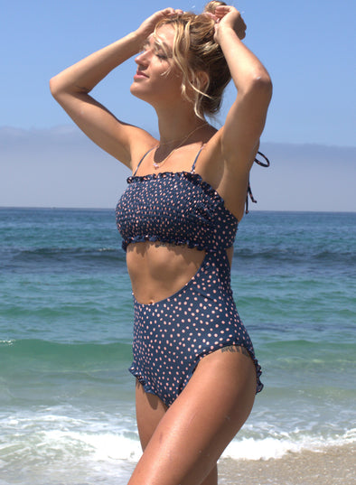 Smocked One Piece Swimsuit