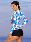 Long Sleeve Print Front Rashguard Top
